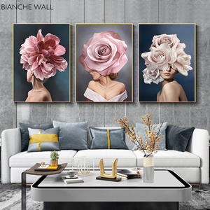 Pink White Flower Lady Poster Personality Fashion Abstract Woman Print Canvas Art Painting Wall Picture Modern Living Room Decor