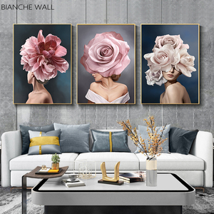Pink White Flower Lady Poster Personality Fashion Abstract Woman Print Canvas Art Painting Wall Picture Modern Living Room Decor(China)