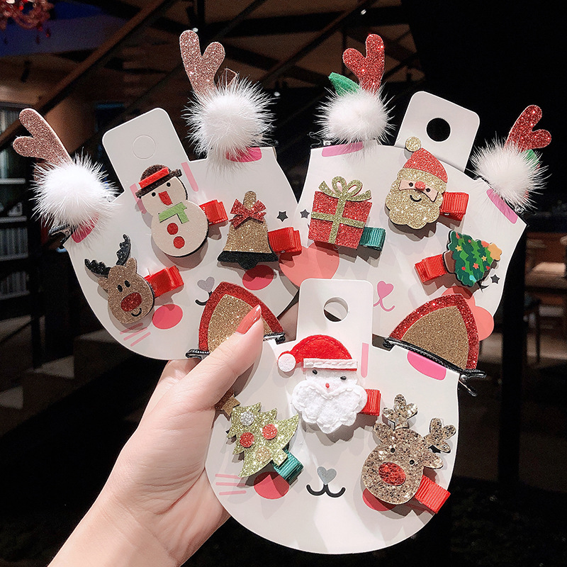 2019 5pcs Christmas Headdress Girl Antlers Christmas Dress Hairpin Clips Female England Holiday Festive Hair Accessories G1115
