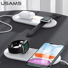 USAMS 3 ב 1 צ י אלחוטי מטען עבור iPhone X XS MAX XR 8 מהיר טעינה אלחוטי Pad עבור Airpods 2019 אפל שעון 5 4 3 2 1