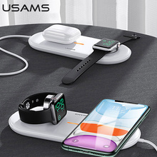 USAMS 3 in 1 Qi Wireless Charger สำหรับ iPhone X XS MAX XR 8 Fast Wireless CHARGING Pad สำหรับ Airpods 2019 Apple 5 4 3 2 1
