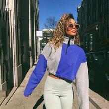 Hot 2019 autumn new street casual womens long-sleeved color matching collar zipper loose wild slim slimming short hoodi