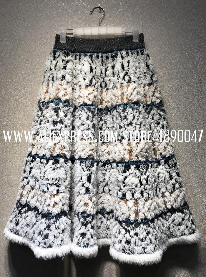 Изготовленная на заказ трикотажная Жаккардовая юбка, качественная женская юбка, юбка-американка, эластичная Женская юбка с высокой талией - Цвет: Многоцветный