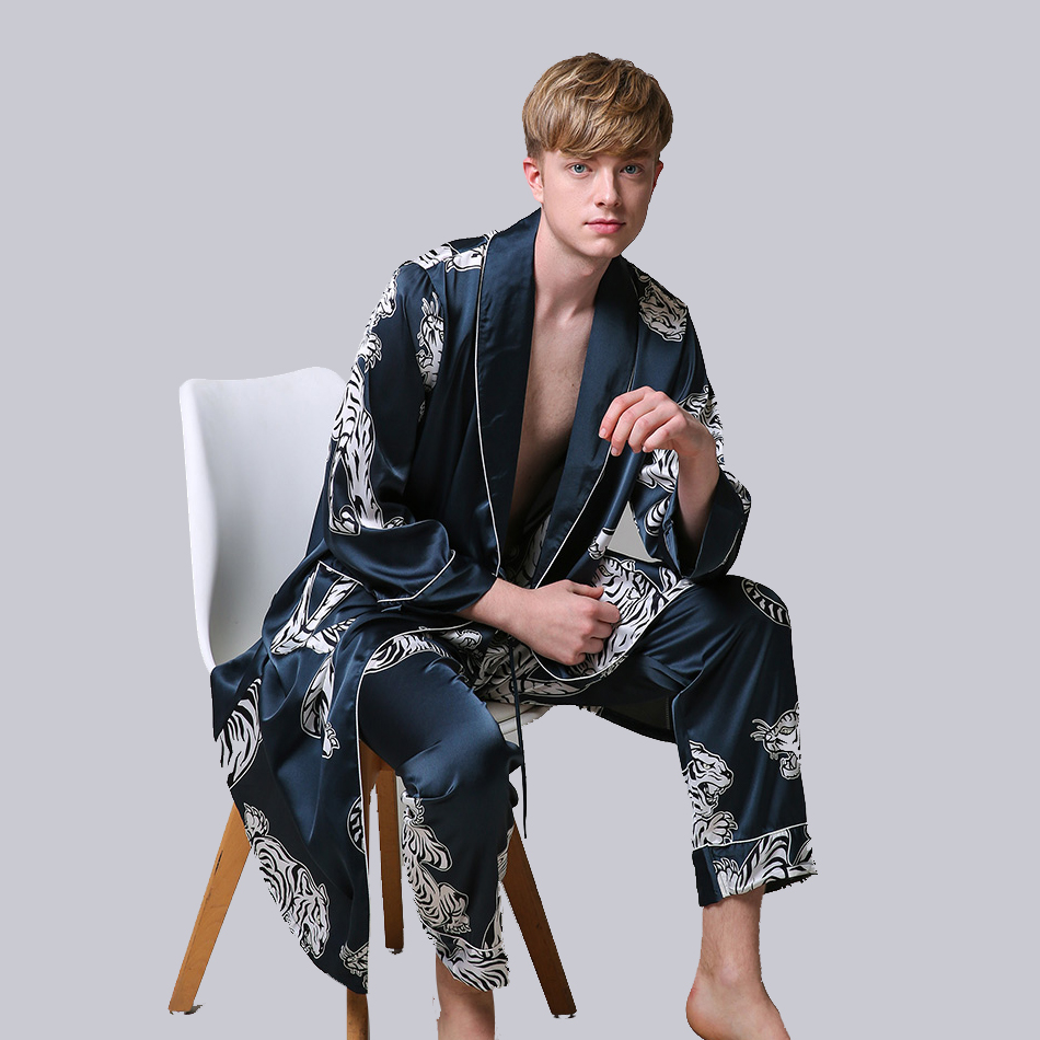 Two-Pieces Satin Nightgown Satin Male Sleepwear Loose Tiger Dress Silky Long Sleeve Robe And Long Pants Bathrobe Set For Men