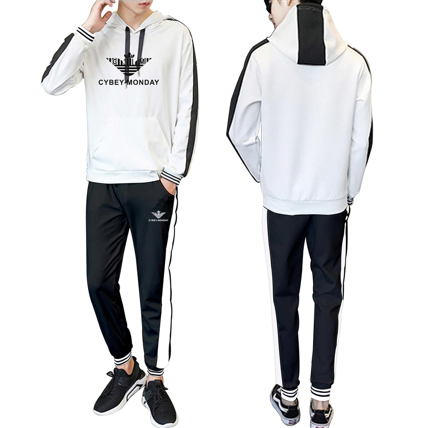 Sports New Logo 2020 Spring and Autumn New Hooded Stitching Fashion Casual Suit Fashion Men's and Women's Sports Casual Suit 4