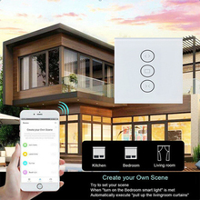 HAOQIYI APP remote control Smart curtain switch WIFI connection European standard tempered glass panel wall sticker switch