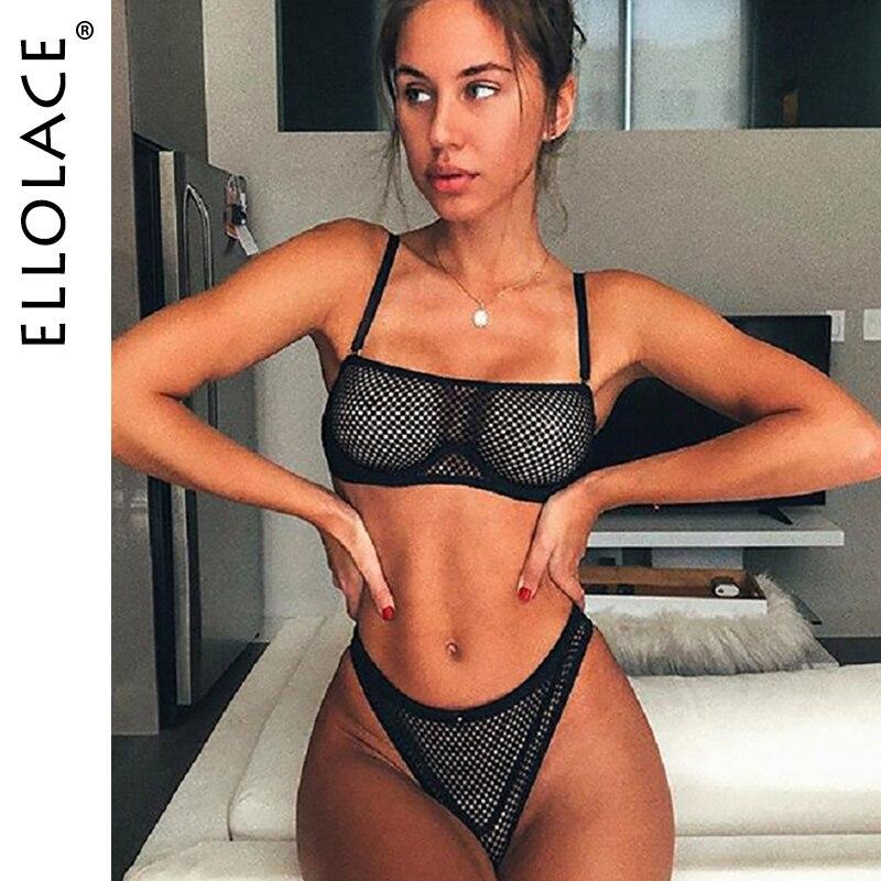 Ellolace Mesh Lingerie Sexy Underwear Women See Through Bra Party Set Underwear Set Transparent Lingeries Bra Sets New Wholesale