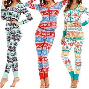 Рождественская пижама из 2 предметов, осенняя женская пижама с цветочным принтом, штаны с длинными рукавами, Рождественская Пижама, праздни...