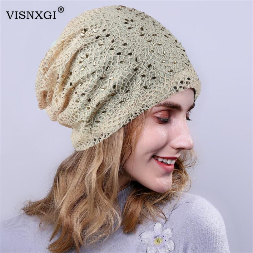 VISNXGI Women Knitting Hollow Out Lace Knit Hat Casual Cotton Autumn Chemotherapy Cap Hair Loss Turban Rhinestone Studded Hat
