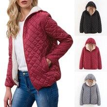 Thick Winter Jacket Women Cotton Coat 2020 Casual Hooded Parkas Mujer Outerwear Rhombus Warm Coat Fleece Slim Manteau Femme