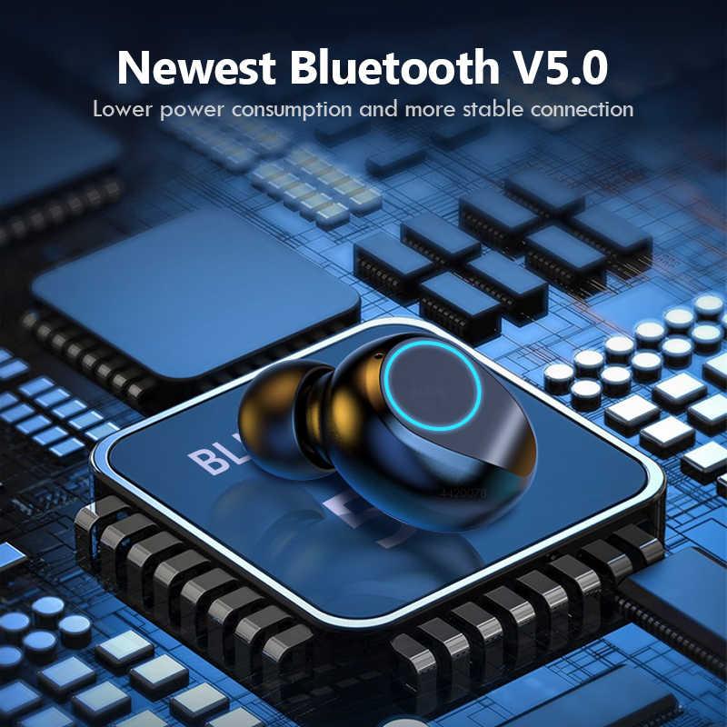 Fones de ouvido sem fio 2000 mah caso carregamento display led à prova dtwágua com microfone tws sem fio bluetooth 5.0 fones