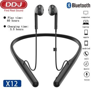 DDJ X12 Bluetooth Earphone Wireless Earbuds Headset Hanging Neck Gamer Headphones With Microphone Waterproof For Xiaomi Buds Ios
