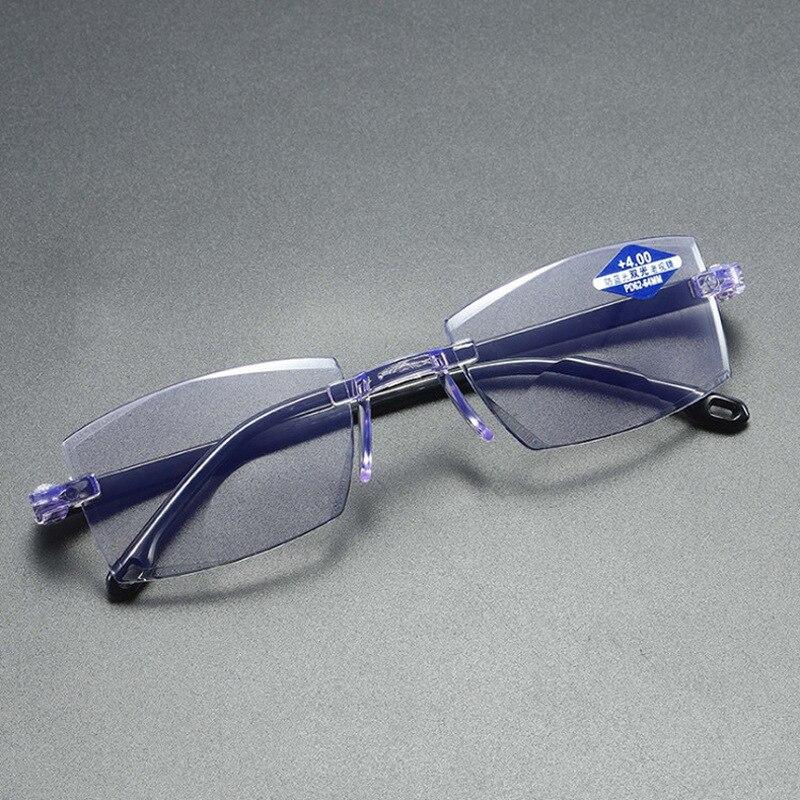 Gafas de lectura sin montura ultraligeras, antirradiación de luz azul, gafas de lectura para presbicia de ordenador|Gafas protectoras para luz azul de mujer|   -
