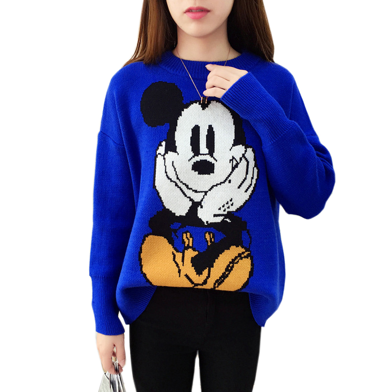 2 Color Sweater Female New Cute Knit Tops Jumpers Thick Cartoon Mickey Pullover Harajuku Kawaii Oversized Women Sweater