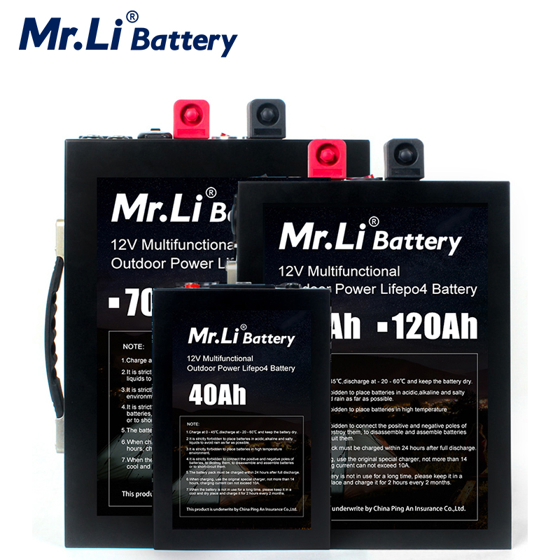 Mr.Li <font><b>12V</b></font> Lifepo4 Rechargeable <font><b>Battery</b></font> Pack <font><b>12V</b></font> <font><b>70Ah</b></font> 120Ah <font><b>Lithium</b></font> <font><b>12V</b></font> 40Ah <font><b>Battery</b></font> Pack Build-in BMS Board With USB Interface image