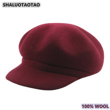 SHALUOTAOTAO Autumn Winter Womens 100% Wool Newsboy Caps New Thermal Thicken Octagonal Cap Elegant Wild Lady Brands Leisure Hat