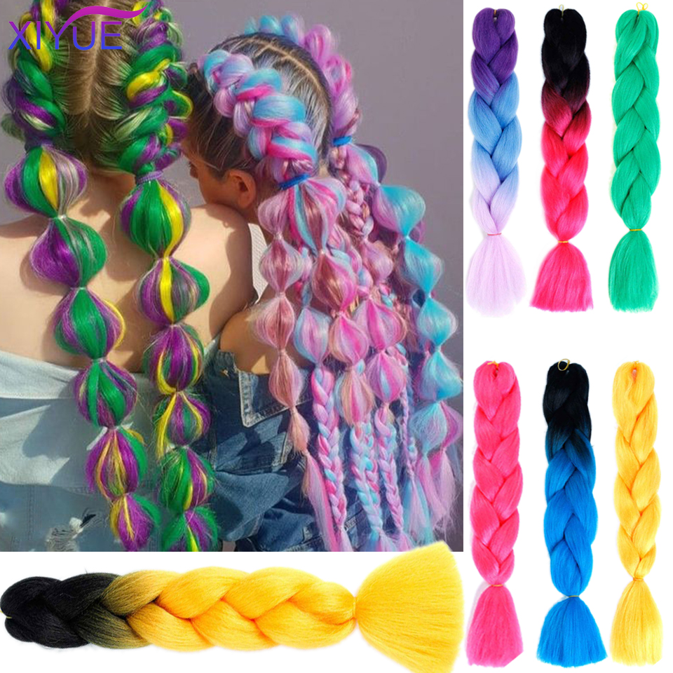 Braiding Synthetic Hair Pink Gold Yellow Purple Colors Available 24Inch Crochet Blonde Hair For Women Extensions Jumbo Braids Ha