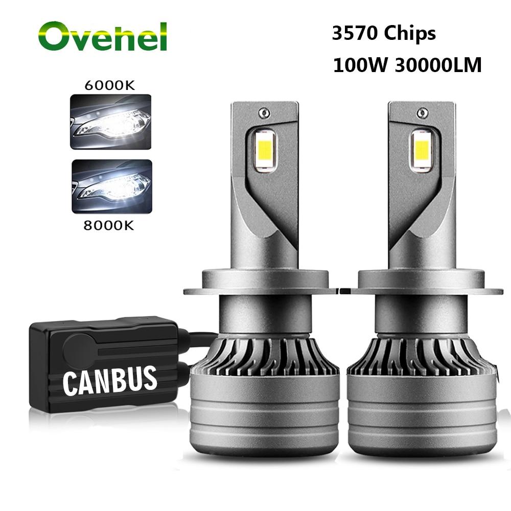 OVEHEL 2 шт. 100 Вт 30000LM Автомобильный светодиодный фар H1 H4 H7 светодиодный Canbus H8 H9 H11 9005 HB3 9006 HB4 дальнего света авто фары лампы Авто Turbo