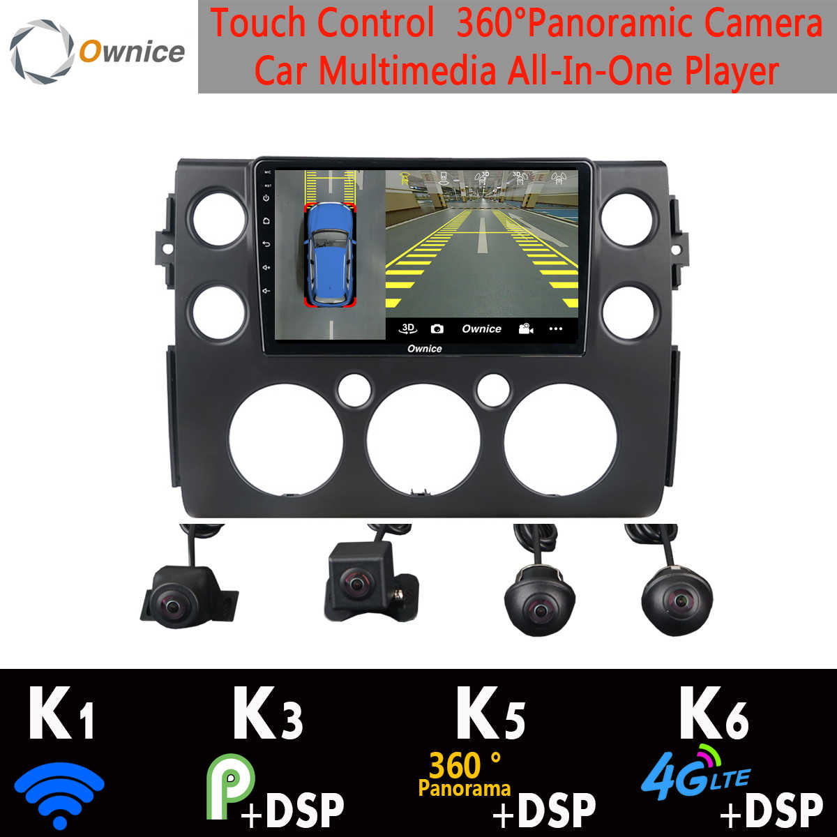 360 ° panoramique 4G WiFi Android 9.0 8Core 4G + 64G voiture lecteur multimédia GPS Radio DSP CarPlay Auto pour Toyota FJ Cruiser 2007-2018