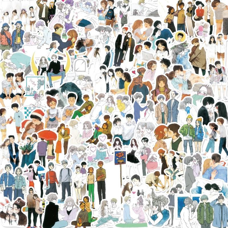 50 шт. романтические наклейки на любовь, ручные заметки, наклейки, персонажи, Молодые влюбленные, украшение жизни, наклейки «Лучший Друг»