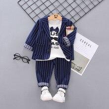 2019 England Style Kids Clothes Handsome Vertical Stripe Suit In Children Autumn