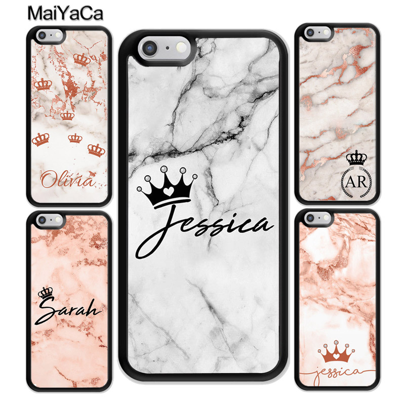 MaiYaCa PERSONALISED ROSE GOLD GREY MARBLE INITIALS NAME Case For iphone XR XS MAX 11 Pro X 6 6S 7 8 Plus 5 5S Cover Shell