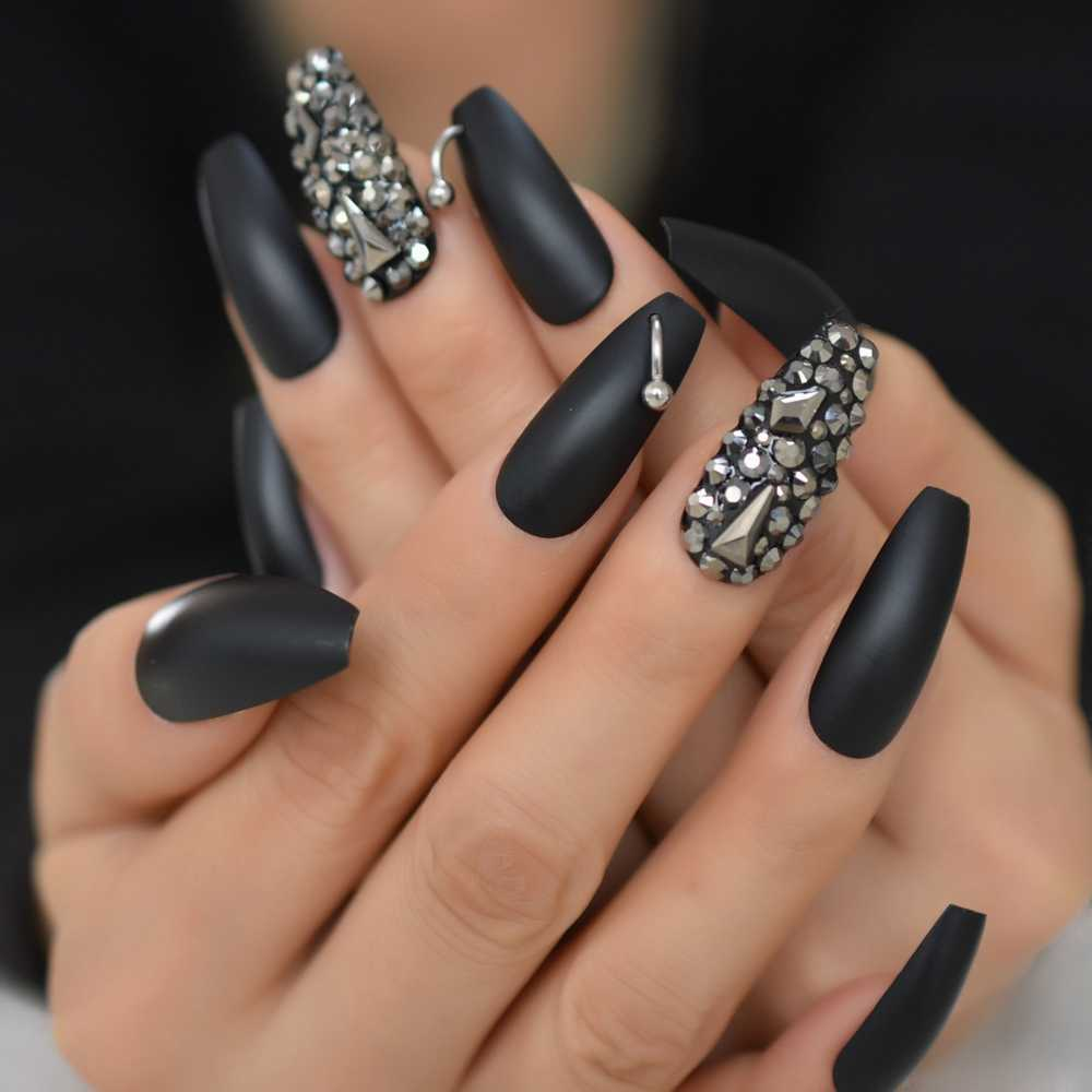 Matte Rhinestone Coffin Nails Designs Abs Nail Art Black Long Full ...