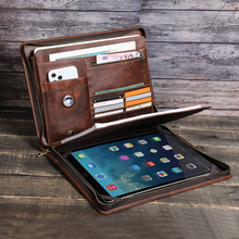 Macbook Pro Air 13'' iPad Pro 12.9 A4 Portable File Folder Cow Leather Cover Organizer Manager Office Document Zipper Briefcase