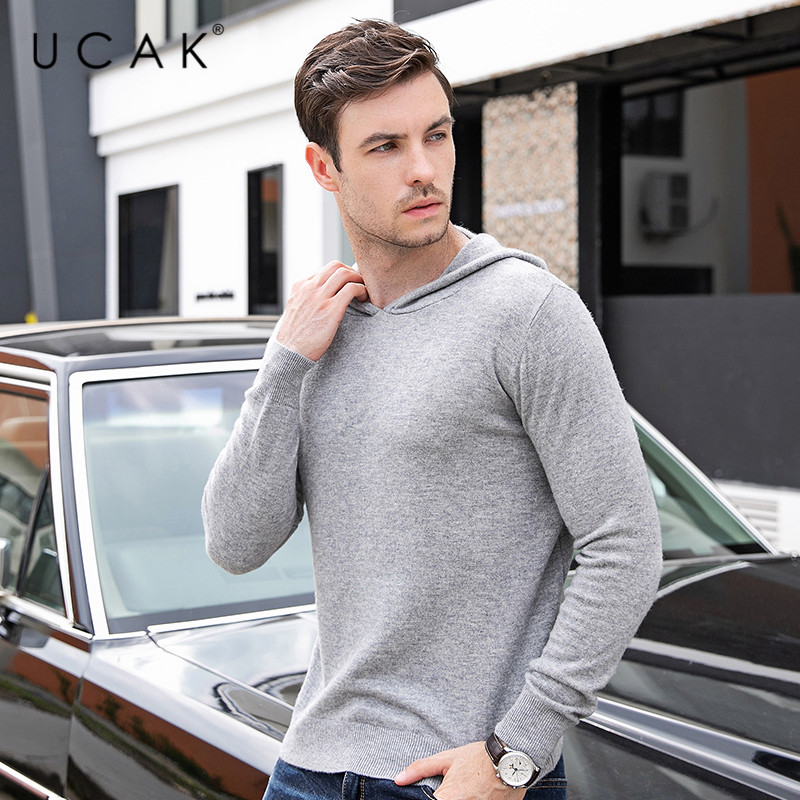 UCAK Brand Sweaters Men 2019 Autumn Winter Casual Pull Homme Pure Merino Wool  Hooded Solid Fashion Cashmere Sweater Men U3085