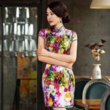2019 קיץ, חדש קצר גבוהה פיצול מודפס טהור משי Cheongsam צווארון להראות דק לאומי רוח Qipao שמלת מפעל מכירה ישירה