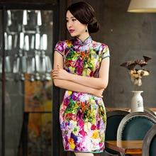 2019 été, nouveau court haut fendu imprimé Pure soie Cheongsam col montrer mince vent National Qipao robe usine vente directe