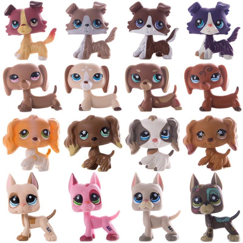 LPS 작은 애완 동물 가게 쇼트 헤어 고양이 그레이트 데인 콜리 닥스 훈트 스패니얼 개 컬렉션 액션 피규어 모델 인형 장난감 키즈 선물