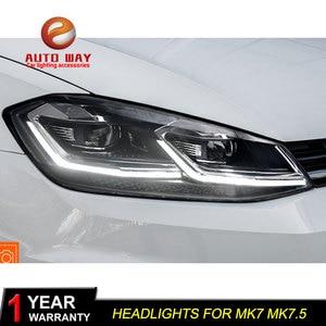 Image 4 - Phares avant pour VW golf 7 MK7 MK7.5, avec lentille à Double faisceau caché, pour VW golf 7, MK7 MK7.5, 2013 2017, phare LED et