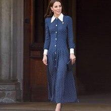 Kate middleton vestido longo de alta qualidade nova moda feminina festa casual do vintage elegante senhora botões pontos vestidos impressão