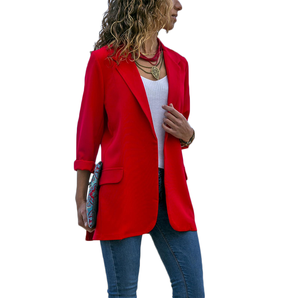 Hot Casual Women Slim Suit Blazer Jacket Coat Red Black Long Sleeve Blaser Business Ladies Outwear Autumn