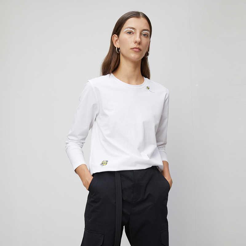 Toyouth 2020 Camisetas básicas bordadas de cuello redondo de primavera Casual nuevas camisetas negras de manga larga sólidas de manga larga para mujer