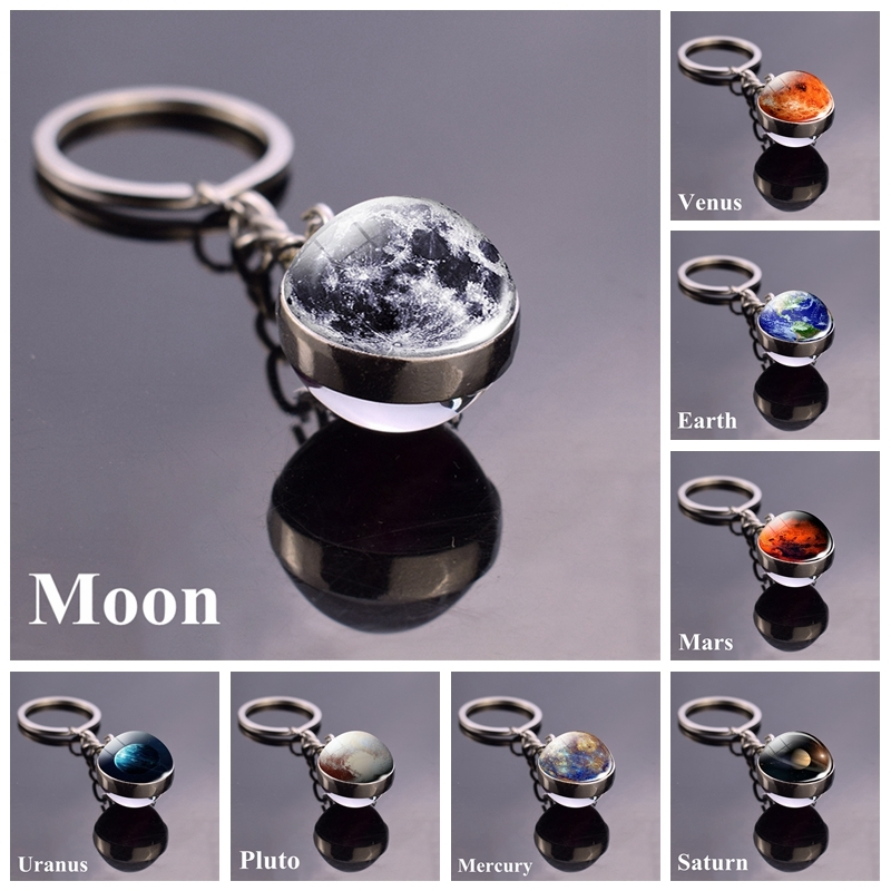 Hot Dropshipping 2019 Solar System Planet Keyring Keychain Moon Earth Sun Mars Art Picture Double Side Glass Ball Key Chain Ring