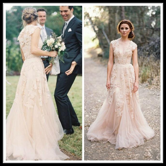 Romantic Vintage 2018 Wedding Dresses Lace Cap Sleeve V Neck A Line Champagen Bridal Gown Vestido De Noiva Sereia Sexy