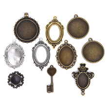 10pcs Hot New Cabochon Base Pendant Setting Trays DIY Blank Jewelry Bezels Antique Glass Cover DIY Jewelry Making Lot(China)