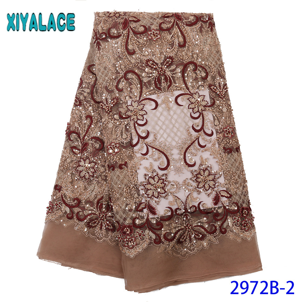Hot Sale Beaded Lace Fabric,Latest Sequence Lace Fabric,Luxury Net Lace Fabric 2019 Dresses For Nigerian Party KS2972B-2