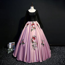 Satin Ball Gown Quinceanera Dresses Vintage Lace Beaded Long Sleeve Sweet 16 Dress Girls 2019 Floor Length Pageant Prom Gowns цена 2017
