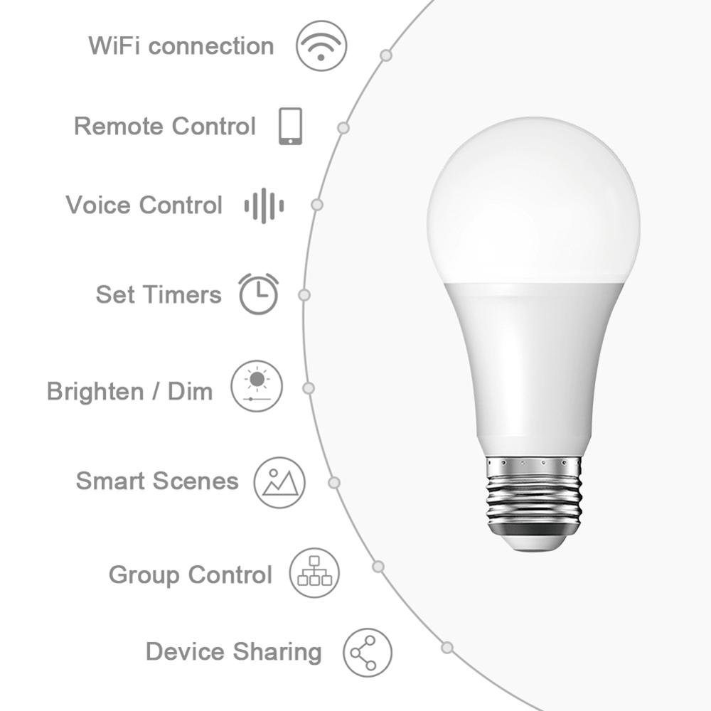 Intelligent Wifi Bulb Dimming Light Bulb White Smart APP Smart LED Bulb10W RGBW WiFi Connection Alexa Google Home App