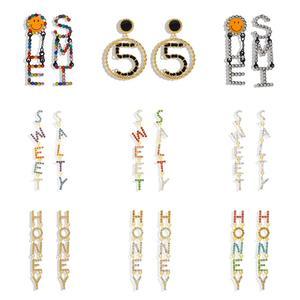 Miwens Роскошные хрустальные круглые серьги-капельки с алфавитом 5 для женщин, сверкающие серьги-подвески ювелирные изделия с надписью CHA Honey