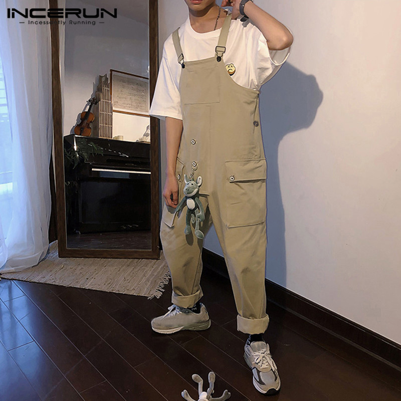 INCERUN Fashion Men Jumpsuit Streetwear Solid Color Bib Pants Casual Suspenders Loose Workout Trousers Men Overalls 2020 S-5XL