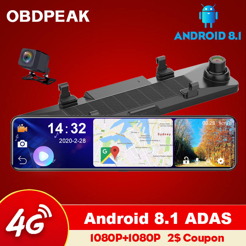 "OBEPEAK 12"" IPS Car DVR Rearview Mirror RAM 4G + ROM 32G Android 8.1 Wifi 3 Split Screen ADAS Dual Dash Cam Car Video Recorder 1"