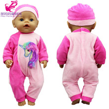 43cm baby Doll Unicorn jumpsuit Set 17 Inch Doll Costume Girls Play Toy Doll clothes Wearing Accessories(China)