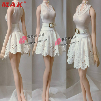 In Stock 1/6 Scale Female White Skirt Sexy Customize Princess Tutu Skirt Tight Pettiskirt For Large Bust Figure Body 1 6 scale female white shirt custom made version women s waist shirt for large bust ph body female action figure