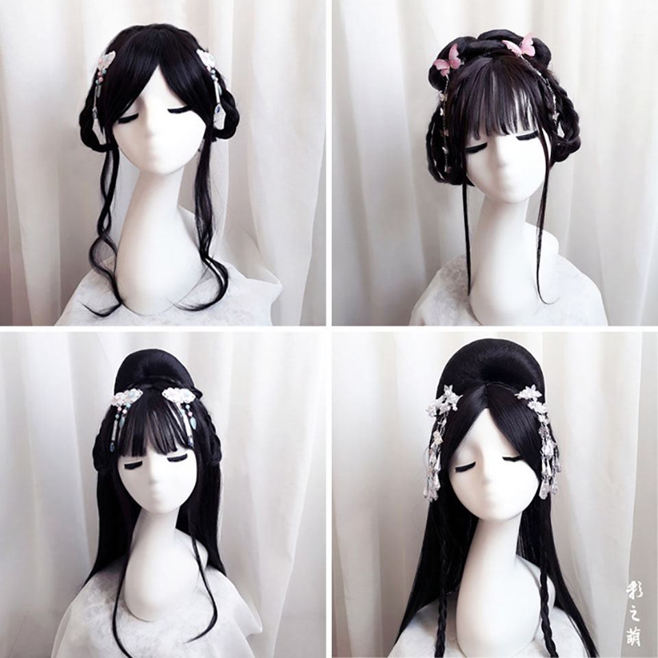 Ancient Wig Costume Antique Female Chinese Clothing Modelling Set Performance Hair Accessories Cos Custom Product Synthetic Wigs