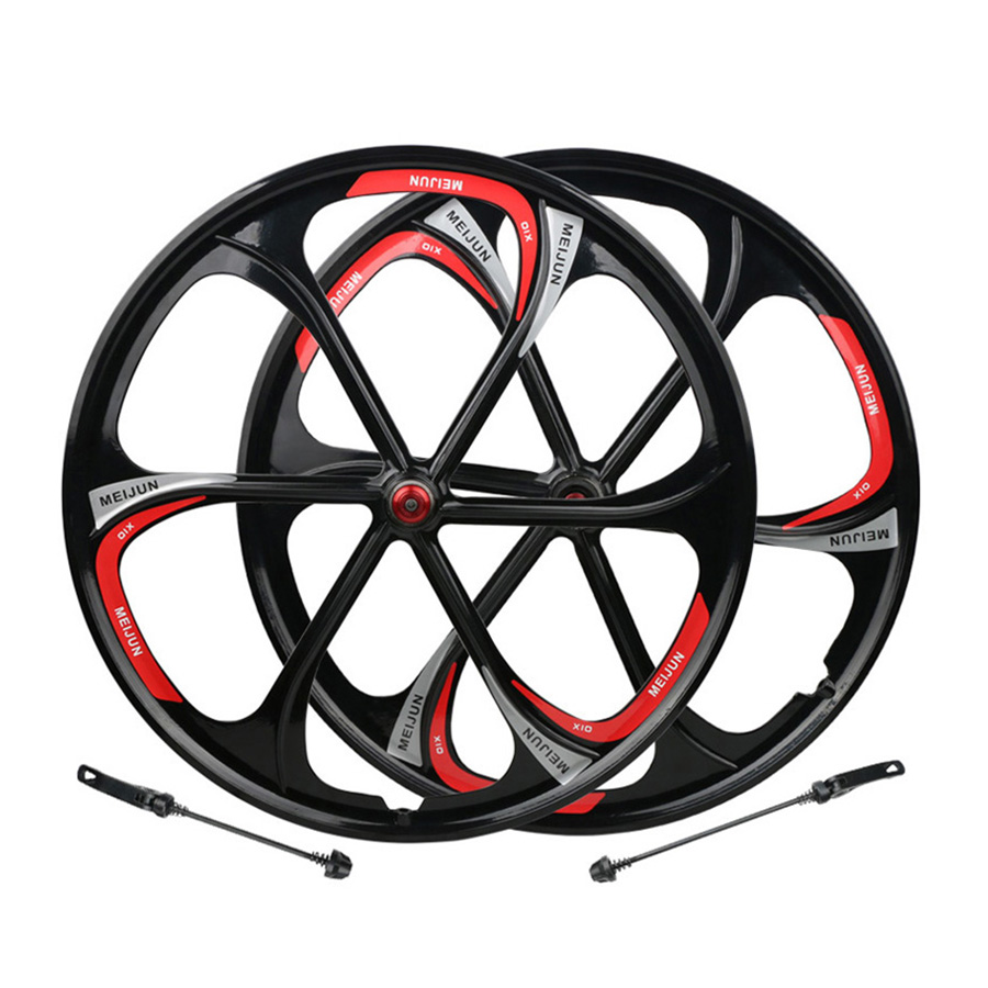 26 inches Mountain <font><b>bike</b></font> magnesium alloy <font><b>wheel</b></font> <font><b>6</b></font> <font><b>spokes</b></font> Cassette wheelset Bicycle <font><b>Wheel</b></font> MTB <font><b>bike</b></font> Disc Brake rims image