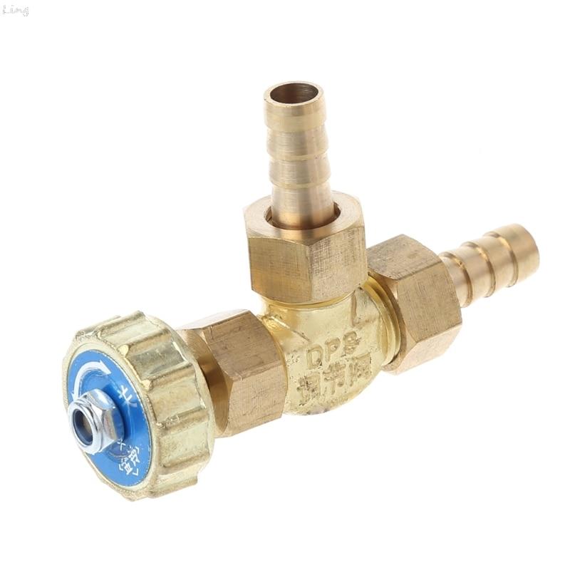 Elbow Brass Needle Valve 8mm Propane Butane Gas Adjuster Barbed Spigots 1 Mpa